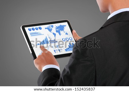 man pushing on a touch screen tablet PC infographics - stock photo