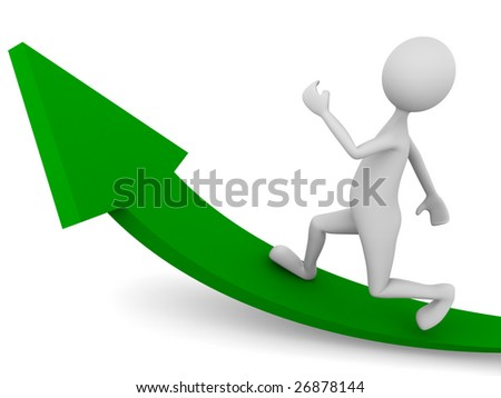 Man reaching for the goal - stock photo