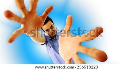 Man reaching something. Distorting effect - stock photo
