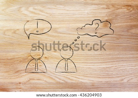 man reacting wwith confidence and another person being doubtful, business men icons version - stock photo