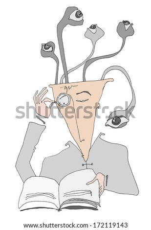 Man reading a book and his ideas come to life in forms of eyes, which are the symbols for thinking /Intellectual Man - Medusa - stock photo