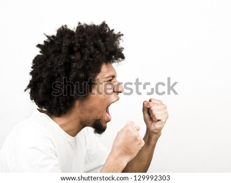 Man ready to have fight - stock photo