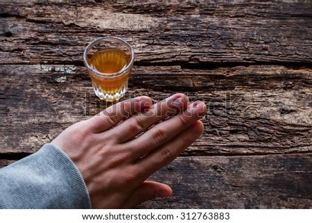 man refuses alcohol - stock photo