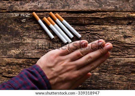 man refuses to cigarettes and smoking - stock photo