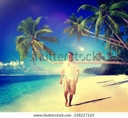 Man Relaxing Beach Holiday Vacation Leisure Concept - stock photo