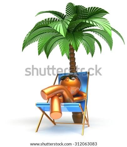 Man relaxing chilling beach carefree cartoon character deck chair palm tree sunglasses summer comfort stylized golden person sun lounger chaise lounge tourist sunbathing rest vacation icon 3d render - stock photo