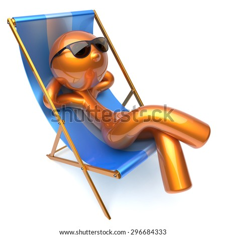 Man relaxing chilling beach deck chair sunglasses summer comfort cartoon stylized golden character sun lounger chaise lounge tourist person sunbathing rest vacation holiday icon 3d render isolated - stock photo