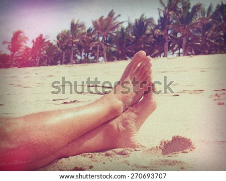 man resting on the beach - stock photo
