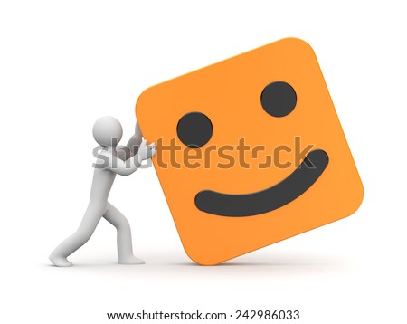 Man rolls smiling face - stock photo
