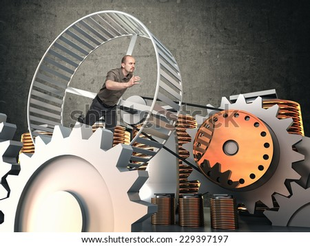 man run in hamster wheel to produce energy - stock photo