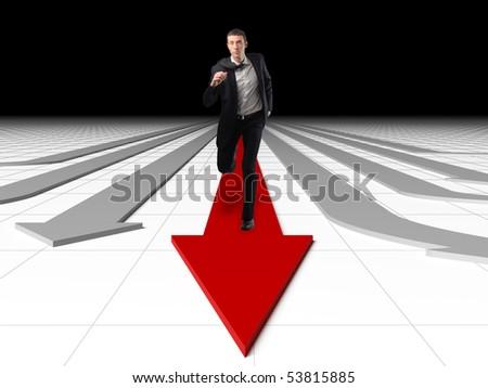 man run on red succesfull business arrow - stock photo