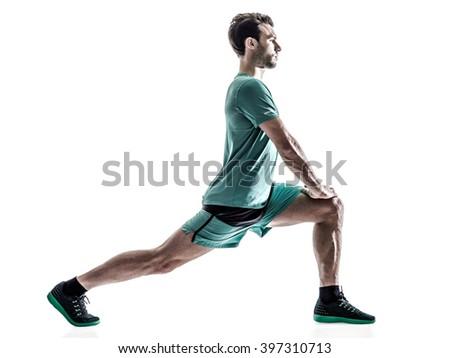 man runner jogger running  isolated - stock photo