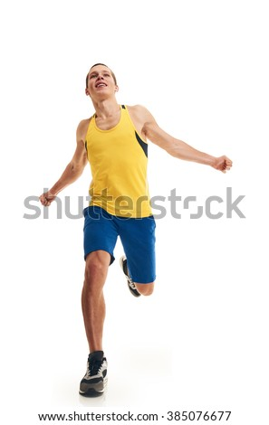 Man running full length finishing - stock photo