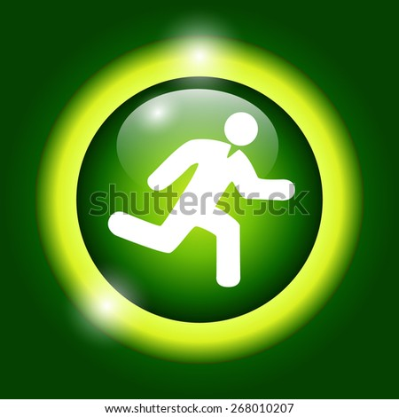 man running icon on green background  - stock photo