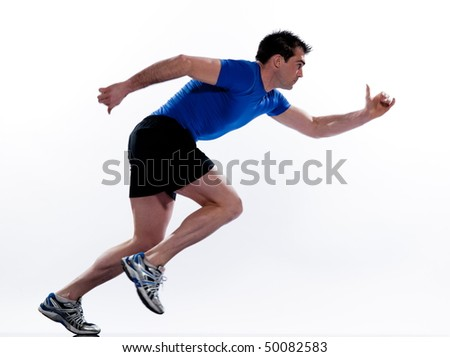 man running on studio white isolated background - stock photo
