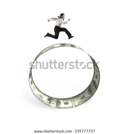 Man running on the circle of dollar bills, isolated on white background. - stock photo
