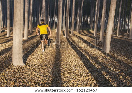 man running through forest - stock photo
