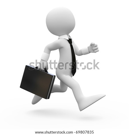 Man running with a briefcase in hand - stock photo