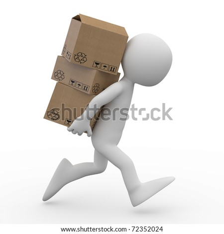 Man running with several boxes in the back - stock photo