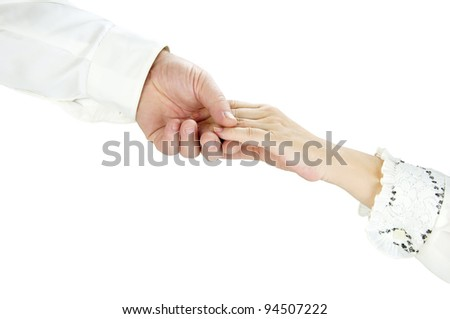 Man's and female hand on a white background - stock photo
