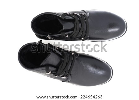 Man's Classic Black Leather Shoes Isolated on White Background - stock photo