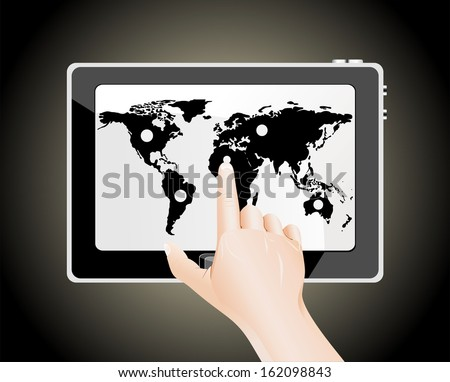 Man's finger pointing on the touch screen tablet PC with world map - stock photo