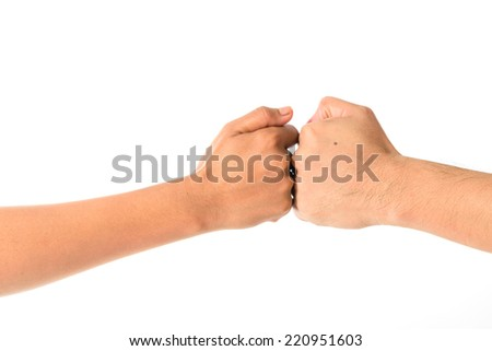 Man's hand and girl hand isolated on the white background, hand sign fight - stock photo
