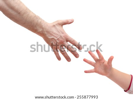 man's hand and   hand baby isolated on white background. Various gestures and movements. - stock photo