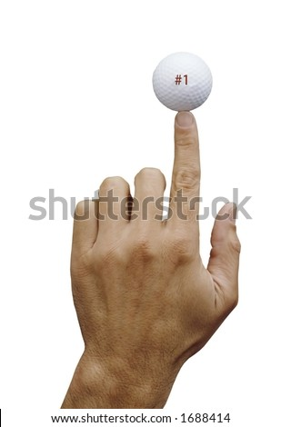 man's hand,balancing golf ball on finger,#1 on ball in red, isolated - stock photo