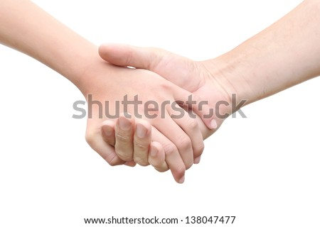 Man's hand hold by a girl hand isolated on the white background - stock photo