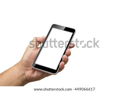 Man's hand holding a black smart phone. The screen is blank white. - stock photo