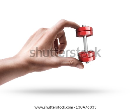 Man's hand holding Dumbbell RED isolated on white background - stock photo