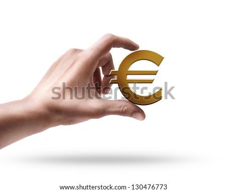 Man's hand holding Golden Euro simbol isolated on white background - stock photo