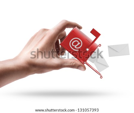 Man's hand holding Mailbox with flying letters isolated on white background - stock photo