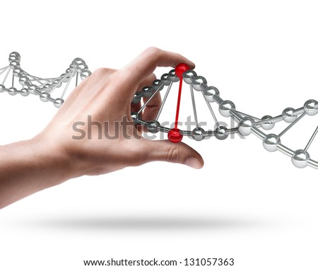 Man's hand holding molecules structure isolated on white background - stock photo
