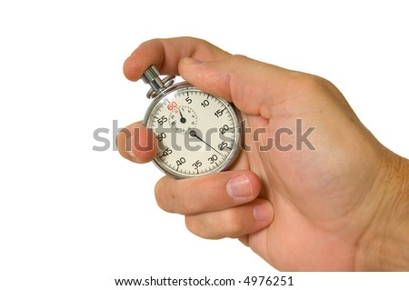 Man's hand holding vintage stopwatch on white background - stock photo
