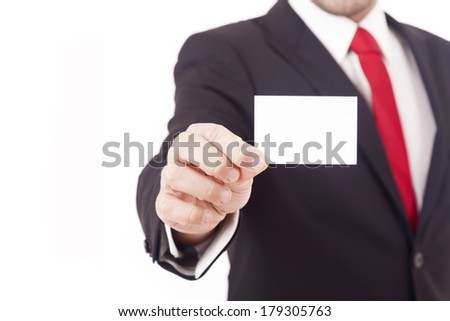 Man's hand showing business card, isolated on white background - stock photo