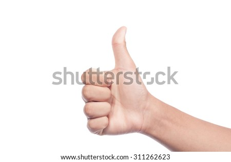man's hand showing thumb up, like, positive sign. Isolated on white background - stock photo