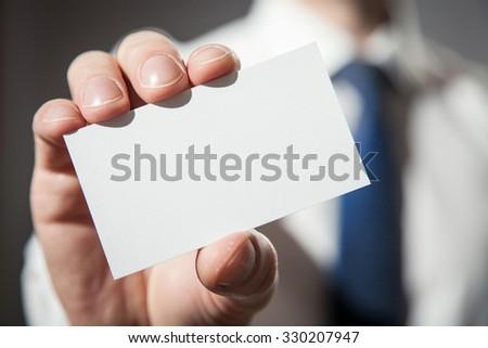 Man's hand showing visiting - closeup shot - stock photo