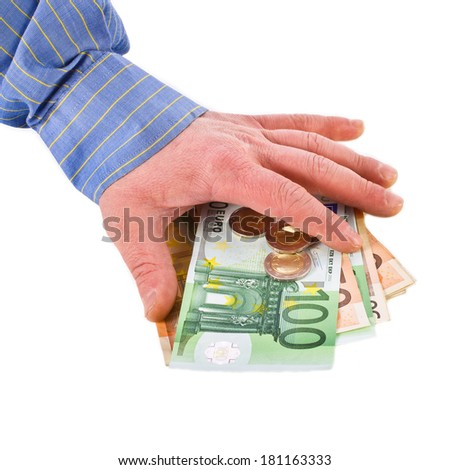 man's hand to touch euro banknotes and coins  isolated on white background - stock photo
