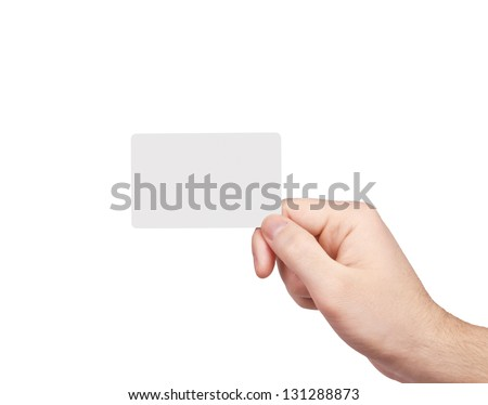 Man's hand with a blank card isolated on white  background. - stock photo
