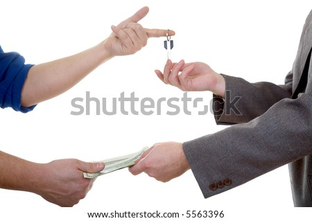 Man's hand with key isolated at the white background - stock photo