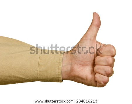Man's Hand With Long Sleeve Giving Thumbs Up On White Background - stock photo