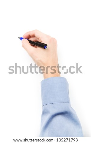 Man's hand with pen writing on blank paper - stock photo
