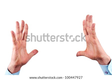 Man's hands, holding or supporting some invisible thing, isolated on white background, a place to put in text,image or object - stock photo