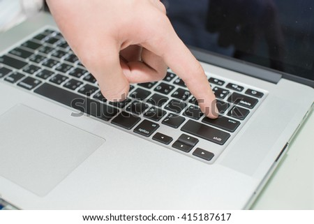 man's hands typing - stock photo