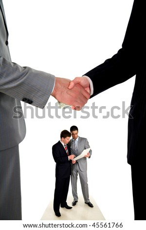 man's handshake and the transfer of money, hands closeup and two young businessmen in work - stock photo