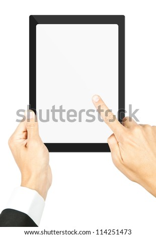 Man's holding a tablet  - stock photo