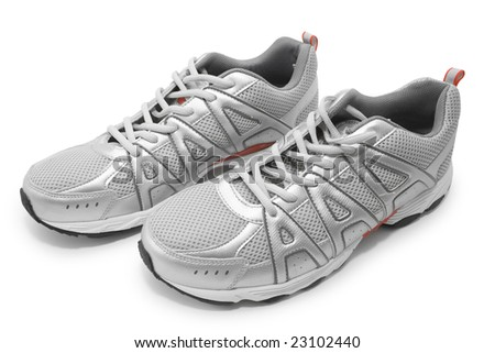 man's jogging shoes isolated on white (contains clipping path) - stock photo