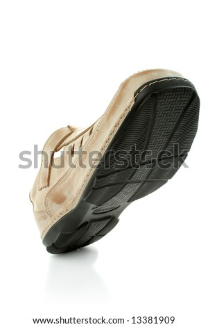 Man's leather shoes of brown color, isolated on white, (look similar images in my portfolio) - stock photo